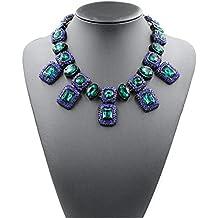 HYHAN Lega di diamante girocollo collana pendente di cristallo della pietra preziosa , (Cristallo Turchese Croce)