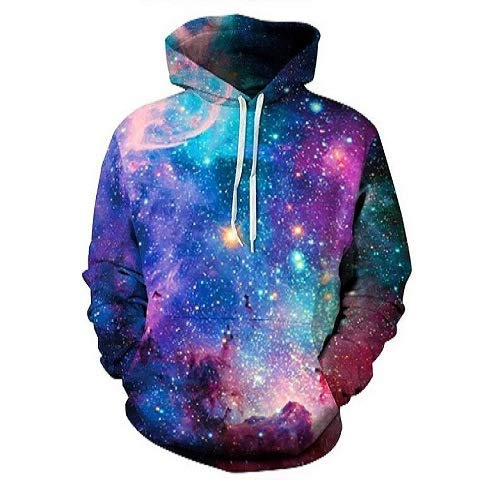 WEIYIGE 3D Sweater Star Print Baseball Jersey Kapuzenpulli - XL -