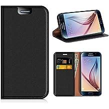 Funda Samsung Galaxy S6, Mobesv Funda Cuero, Carcasa en libro, Ranuras para Tarjetas, Soporte Para Samsung Galaxy S6 - Negro