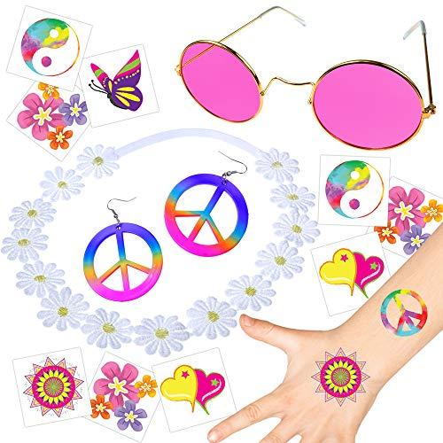 German Trendseller® - 1 x Flower Power - 70´s Set - Deluxe ┃ Hippie ┃ Brille + Peace Ohrringe + Blumen Kopfschmuck + Tattoos┃ Komplettset ┃ 1 Set