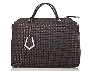 italienische Damen Handtasche Kingston aus echtem Leder in mocca braun, Made in Italy, Shopper Bag 37x30 cm