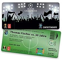 Einladungskarten Geburtstag Als Fußballticket | 25 Stück |  Geburtstagseinladungen   Karte Einladung | Einladungskarte Kindergeburtstag  (
