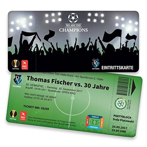 Einladungskarten Geburtstag als Fußballticket | 40 Stück | Einladungen Karte | Einladungskarte Kindergeburtstag Junge | Druck Ihrer Texte inkl.