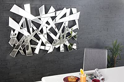 Großer Design Wandspiegel SPLIT 130 cm dreieckige Formen Facettenschliff