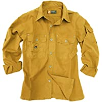 Outdoor de Safari de algodón camisa de Señor de ligero, manga larga camiseta de hasta 5X l disponible, hombre, color mostaza, tamaño medium