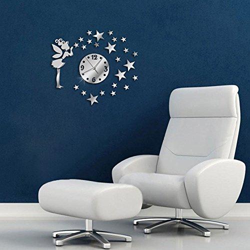 Vetrineinrete® orologio da parete adesivo sticker componibile tridimensionale 3d effetto specchio decorazione murales fatina e stelle 0483s