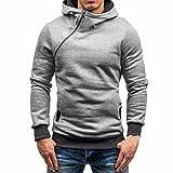 Sweatshirt ,Style_Dress Herren Herbst Sweatshirts Hoodie Zipper Kapuzen-Sweatshirt Pullover Sweat Jacke Langarm Outwear Bekleidung Bluse Tops (Grau, M)