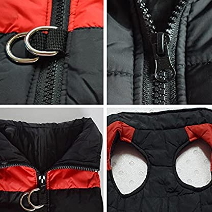 Treat Me Winter Dog Coat Warm Pet Jacket Raincoat of Nylon Fabric Cotton Filler Waterproof Protective Adjustable 6