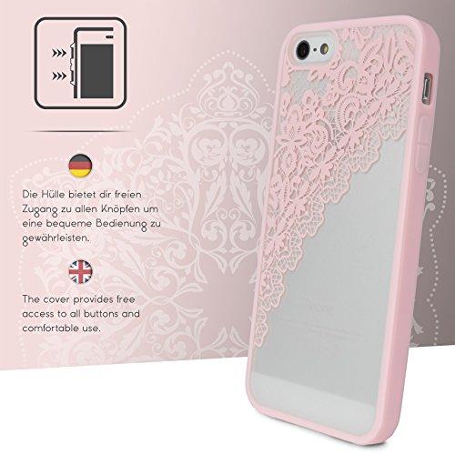 Urcover® Apple iPhone 5 / 5s / SE Garngeflecht Muster in Schwarz | Lace Hard Spitzen Case | TPU Bumper & Kunststoff Rückseite | elegant Schutz-Hülle Case Smartphone Zubehör Cover Tasche Rosa