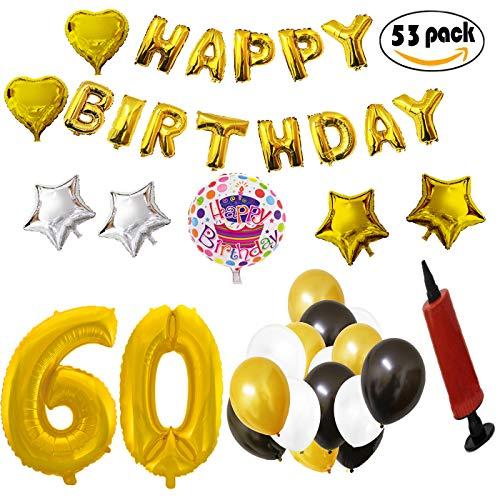 COTIGO - Globos Cumpleaños Happy Birthday #60 Color Dorado, Año 60