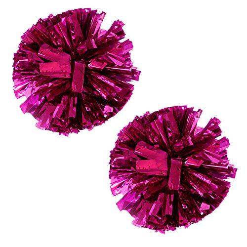 VOBAGA 1 Paar Cheerleader Pom Poms Metallfolie und Kunststoff rosarot