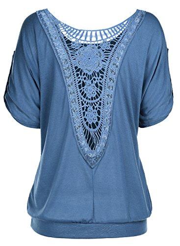 DJT Femme T-Shirt Ajoure au dos Lace dentelle Tops manches courtes Bleu