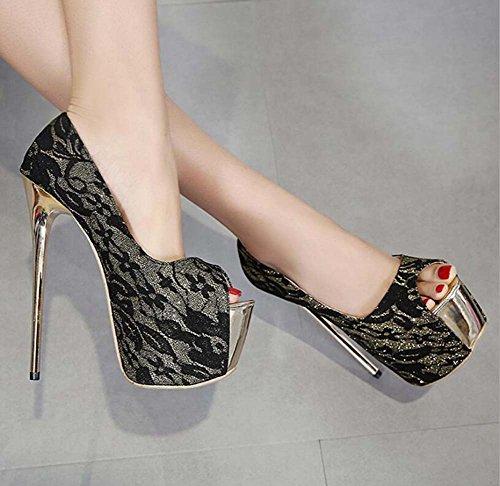 Pompa 16cm Stiletto 7cm impermeabile piattaforma Peep Toe pattini abito alti Scarpe Donna Scarpe da partito modello pizzo merletto Scarpe partito Eu 34-40 Black