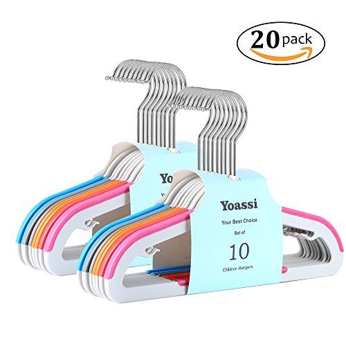 Yoassi Kinder-Kleiderbügel, Farbig, 20 Stück, 0,5 cm dick, aus Kunststoff Rutschfest 360° drehbarer Haken