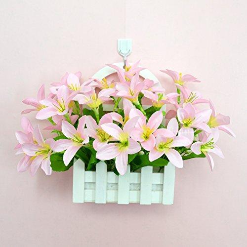 ALLDOLWEGE Personnalisé simple émulation menuiserie plastique en pot en pot pot de fleurs d'émulation de dans le mur lumière jardin exquis decorationThatPink Kit Crochet +Lily