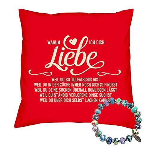 Soreso Design Kissen & Armband : Valentinstagsgeschenk Geschenk Set Valentinstag Jahrestag Liebeserklärung : Warum ich Dich liebe Farbe: rot