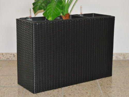 XXL Pflanztrog Blumentrog Trennelement Polyrattan als Raumteiler LxBxH 106x40x60cm schwarz
