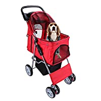 Display4top Pet Travel Stroller Dog Cat Pushchair Pram Jogger Buggy With 4 Wheels (Red)