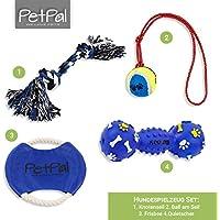 PetPäl Hundespielzeug Set Perfekte Hunde Spielzeug mit Ball am Seil, Frisbee, Quietscher & Knotenseil für Den Hund Groß & Klein | Auch für Welpen Geeignet