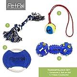 PetPäl, set di giocattoli per cani, da masticare, set di giocattoli perfetto per cani con palla su cordoncino, frisbee, giocattolo di gomma sonoro e corda, per cani di taglia grande e piccola, adatto anche per i cuccioli