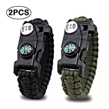 #7: Jisen Survival Bracelet with Knife Paracord Bracelet Outdoor Emergency Bracelet
