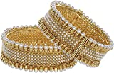#9: Zeneme Gold plated Pearl Studded Ethnic Traditional party wear Openable bracelet kangan bangles for Women Girls (2.6)