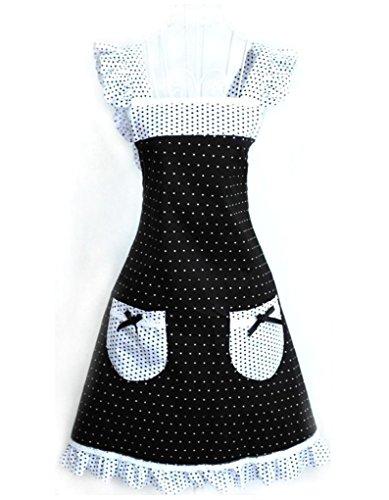 Musuntas Cute Princess Style Dots Muster Falbala Dekor Frauen Küche kochen Schürze mit 2 Bowknot Taschen (schwarz + weiß)