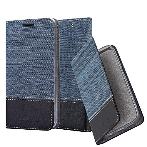 Cadorabo Hülle für Sony Xperia C4 - Hülle in DUNKEL BLAU SCHWARZ - Handyhülle mit Standfunktion & Kartenfach im Stoff Design - Case Cover Schutzhülle Etui Tasche Book
