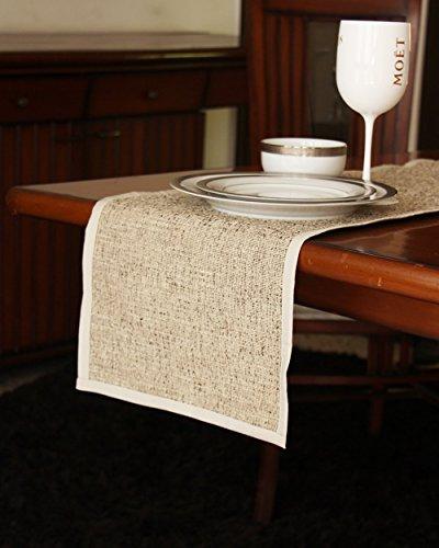 S9home by Seasons Beige & White Plain Table Runner