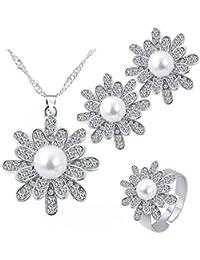 2d04ae768901 Scrox 3pcs Navidad Juego de Joyas Mujeres Moda Temperamento Copo de Nieve  Joyería Conjunto Perla Colgante Flor Collar…