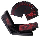 Juego de cartas, 54PCS lujo impermeable de plástico PVC tarjetas de Poker de la cubierta de con una exquisita caja de regalo perfecto para cardistry, Magic trucos, juegos de cartas de manos parte, rojo