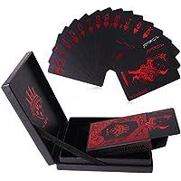 Juego de tarjetas, 54 piezas de lujo, plástico PVC impermeable, baraja de póquer de cartas con exquisita caja de regalo, perfecto para florituras con cartas, trucos de magia o juegos de cartas en fiestas, rojo