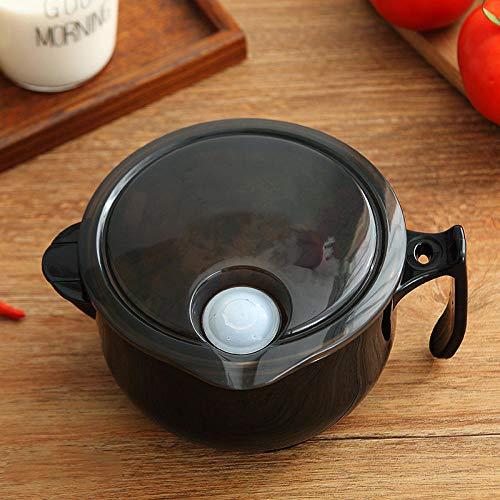 Qianqingkun scatola per il pranzo isolata in acciaio inossidabile, ciotola per spaghetti istantanei con coperchio-nero