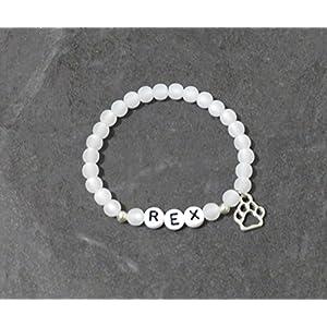 Armband mit Polarisperlen mit Namen – Tierliebhaber – Weiß – INDIVIDUELL!