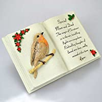Angraves Special Mum & Dad Christmas Robin Memorial Book Plaque With Verse