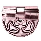 Gaeruite Damen Handgelenkstaschen Bambus Handtasche Handgefertigt Große Taschen Strandtaschen Strand Umhängetasche Shopper ,schwarz und pink (L, Pink)