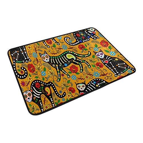 XiangHeFu Teppiche 59,9 x 39,9 cm Fußmatte Tiere, Katze, Sugar Skull Weicher Teppich Personalisierte Matte für Küche, Wohnzimmer, Esszimmer, Schlafzimmer, Deko