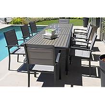 ensemble de jardin composite gris avec 8 fauteuils pegane - Salon De Jardin En Composite