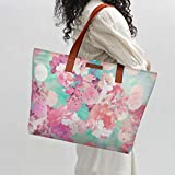 DailyObjects Women's Pink and Teal Canvas Floral Tote Bag