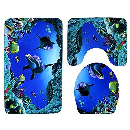 KUDIAN Matte Set 3 Stücke Rutschfest Weich Flanell Delphin-Thema Geeignet für Badezimmer