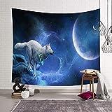 Qmber Wanddeko Tagesdecke Wand Dekoration Indisch Wandteppich Mandala Tuch Hippie Bunt Indischer Wandbehang Baumwolle Sternenhimmel Mondschatten Wolf Mond,O