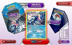 La BOX Attaque Eclair GRENINJA (Amphinobi) holo 41/146 XY Anglaise + 1 booster optimisé 6 cartes rares Anglaises + 1 booster optimisé de 50 cartes Pokemon communes ANGLAISES