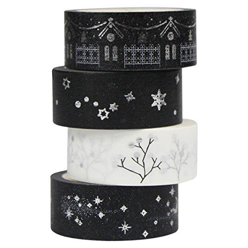 UOOOM 4er Set Silber Washi Tape Masking Tape deko klebeband Schwarz Weiß Klebebänder DIY deko Scrapbooking Craft Geschenk Design 9058 -