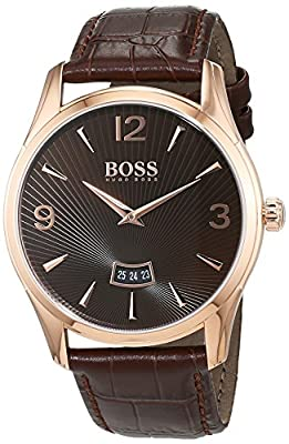 Hugo Boss Commander Mens Quartz Brown Analogue Classic Brown Leather Strap 1513426