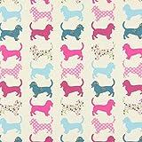 Fabulous Fabrics Baumwollstoff Hund 1 pink - Meterware ab