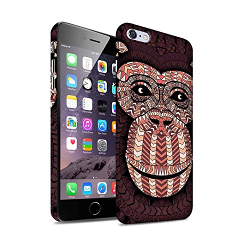 STUFF4 Matte Snap-On Hülle / Case für Apple iPhone 7 Plus / Elefant-Farbe Muster / Aztec Tier Muster Kollektion Affe-Rot