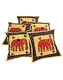 RAJRANG Diseñador de la India Funda de Cojín almohada amarillo mostaza Algodón elefante Patch Kantha