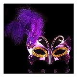 SCLMJ Frauen Maskerade Maske Feder Schmetterling Form Halloween Party Kostüm Maske, Violett
