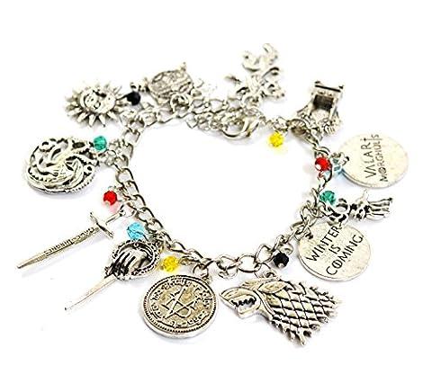 Game Of Thrones Bijoux - Bracelet Game of Thrones avec breloquesemblèmes Stark,