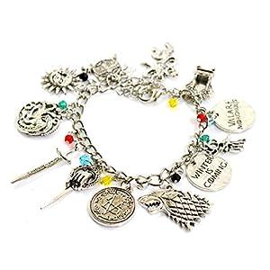 Beau Bijoux Juego de Tronos Charm Bracelet - Got Joyería - Stark, Lannister, Targaryen Charms - En Caja de Regalo 2